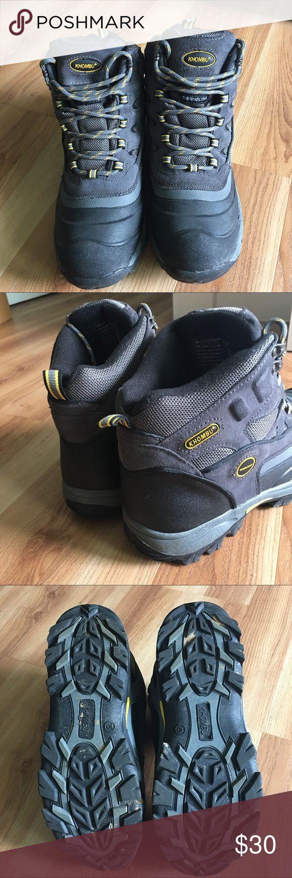 Khombu winter boots, men's size 10 Gray and yellow men's winter boots. Worn once. Waterproof. Khombu Shoes Rain & Snow Boots