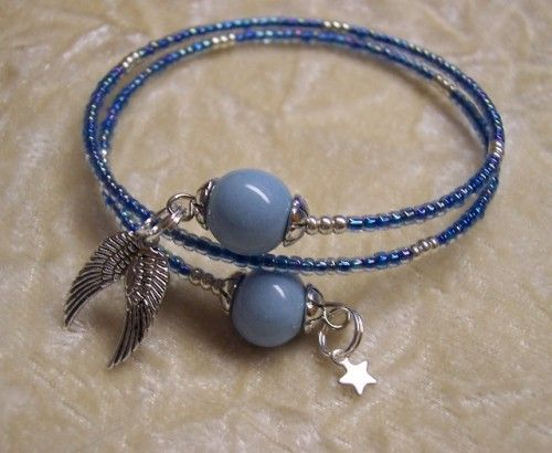 Blue Angel Wing and Star Bracelet with Handcrafted Porcelain beads  IBHandmade It's Better Handmade