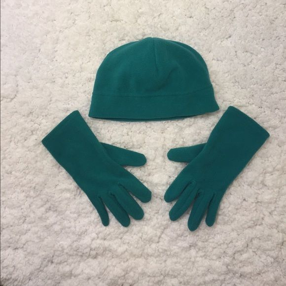 Green fleece gloves and hat These gloves and hat are so cozy and warm! It's perfect for those cold winter days! Target Accessories Gloves & Mittens
