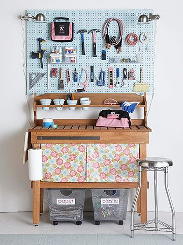 This potting bench turned into a premier crafts center loaded with storage solutions. I see some tomboy tools on there!! Contact me to get your pink tools! Tomboytools.com/cfriend
