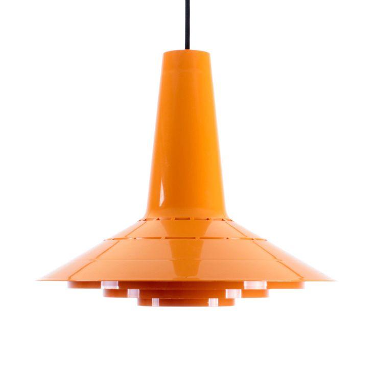 ORANGE PLASTIC pendant by Sven Middelboe - 1960s - Nordisk Solar Compagni. Danish Mid Century design. Medium sized yellow hanging lamp. by DanishVintageLights on Etsy
