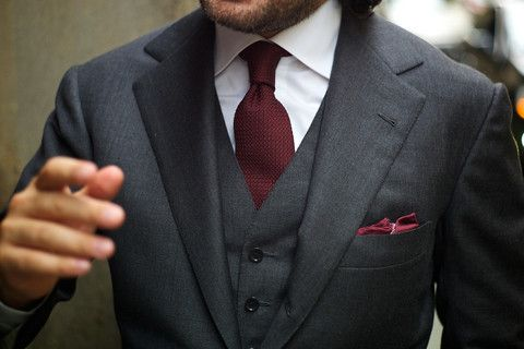 3 piece charcoal suit with matching bordeaux red tie and pocket square accessories