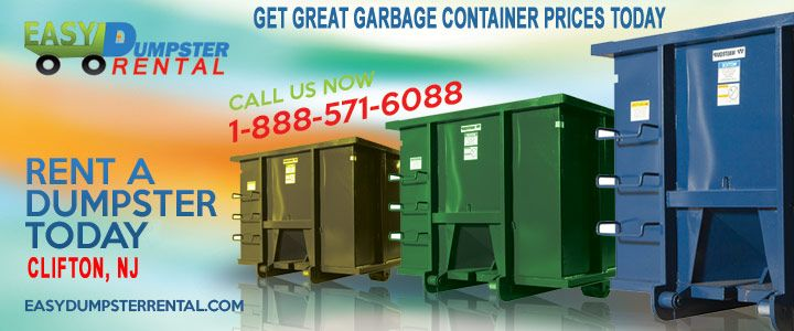 Clifton, NJ at Easy Dumpster Rental Dumpster Rental in Clifton, NJ Get Great Garbage Container Prices Today Click To Call 1-888-792-7833Click For Email Quote How We Offer Deluxe Dumpster-Rolloff Service In Clifton: Easy Dumpster Rental does the job right the first time. Our extraordinary customer service team is like a well oiled m... https://easydumpsterrental.com/new-jersey/dumpster-rental-clifton-nj/