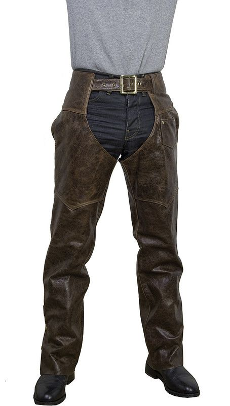 Brown Antique Cowhide Leather Motorcycle Chaps 551