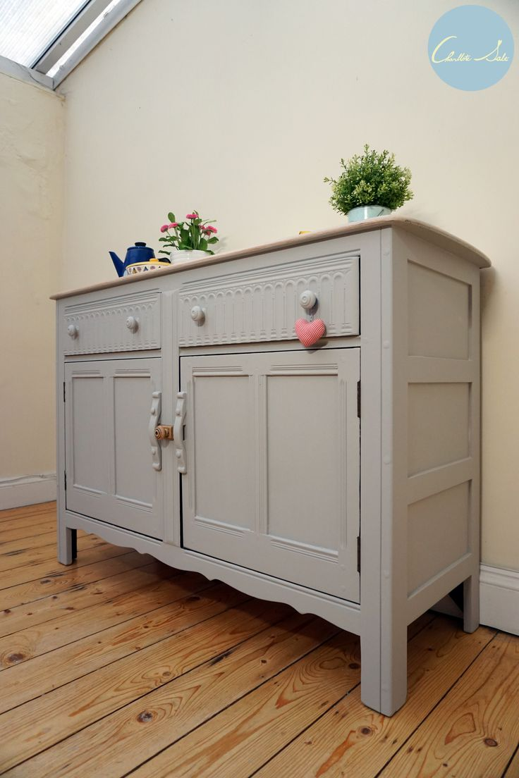Ercol Sideboard is painted in Laura Ashley Dark Dove Grey and white washed top