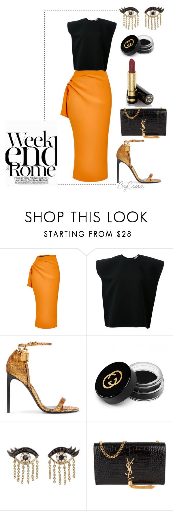 """""""Untitled #784"""" by crisa-gloria-eduardo ❤ liked on Polyvore featuring Maticevski, Tom Ford, LARA, Gucci, Sydney Evan and Yves Saint Laurent"""