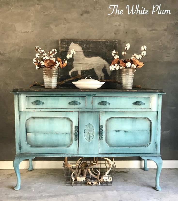 Painted using Wise Owl Chalk Synthesis Paint in a blend of Abyss and Antique Villa.