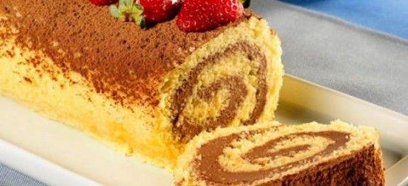 Rocambole com creme de chocolate, morango e União Fit