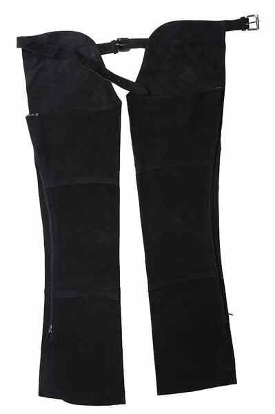 Chaps Riding World, divisi, in pelle bovina con la coscia e la gamba taglio V, cintura e regolazione posteriore con fibbie in ottone nichelato.