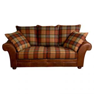 Venice Couch 3 Seater Sofa In Brown Cerato Leather And Skye Burnt Orange