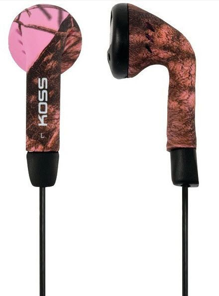 Koss Mossy Oak Pink Stereo Earbuds 60-20K Hz 4'Cord 3.5mm New Free US Shipping #Koss #StereoHeadphones