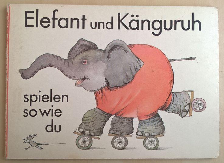 Vintage Kinderbücher - Elefant und Känguruh - DDR Bilderbuch Pappe - ein Designerstück von bucherinnerungen bei DaWanda