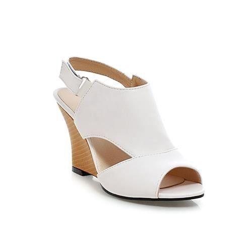 Women Fashion Peep Toe Wedge Sandals, Black, Pink, White