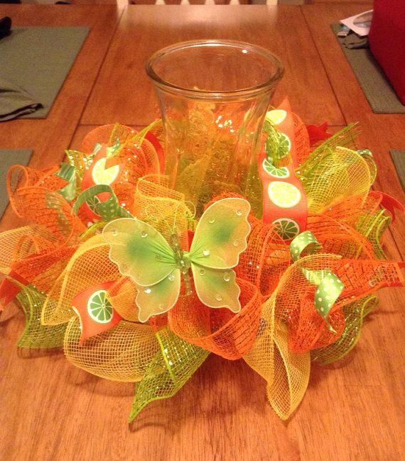 Table centerpiece/ summer mesh centerpiece/ by Wreaths4u2byPaula