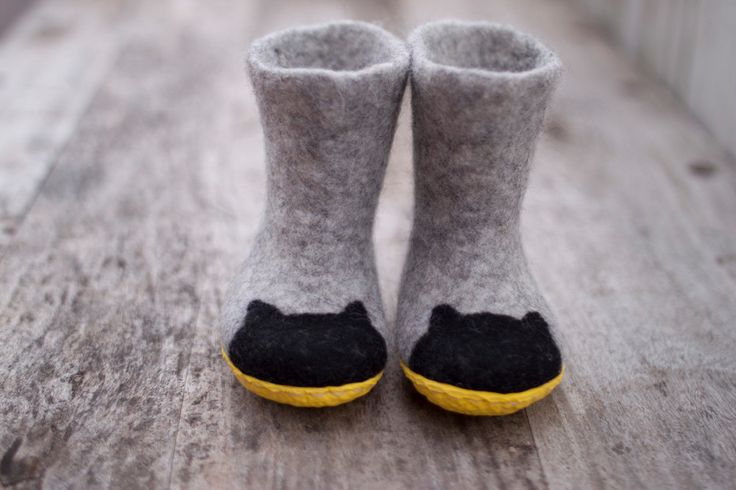 Baby wool boots batman felted grey kids slipperswith black cats  baby shower day yellow rubber soles childres shoes  handmade to order by AureliaFeltStudio on Etsy