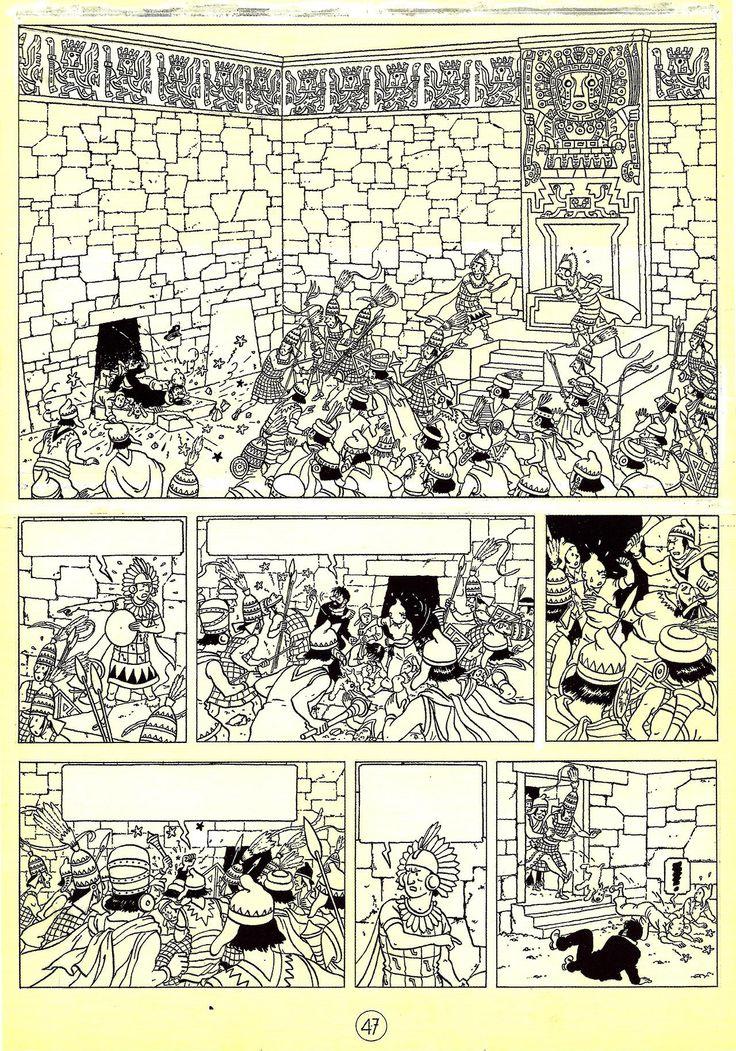 "Hergé (1907-1983, Belgium) - 1948 ""Le Temple du Soleil"" - Page 47 Indian ink and gouache on drawing paper - 332 x 458 mm - Foundation Hergé Collection From Hergé - Chronologie d'une oeuvre - Vol 51943-1949 - Philippe Goddin - Hergé Foundation - Editions Moulinsart 2004"