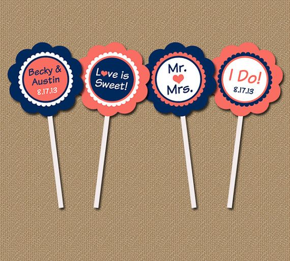Bridal Shower Cupcake Toppers - Personalized Modern Printable DIY Party Circles - Navy, Coral - Wedding Toppers