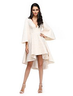 TS+Couture+Cocktail+Party+Prom+/+Dress+-+Celebrity+Style+A-line+V-neck+Asymmetrical+Lace+with+Pleats+–+AUD+$+450.45