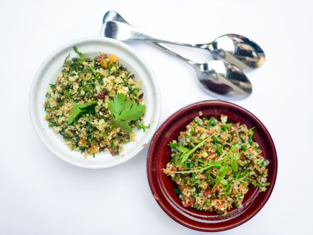 Try this recipe for tabbouleh made with cauliflower and dried fruit. More healthy recipes like these at FoodNetwork.com