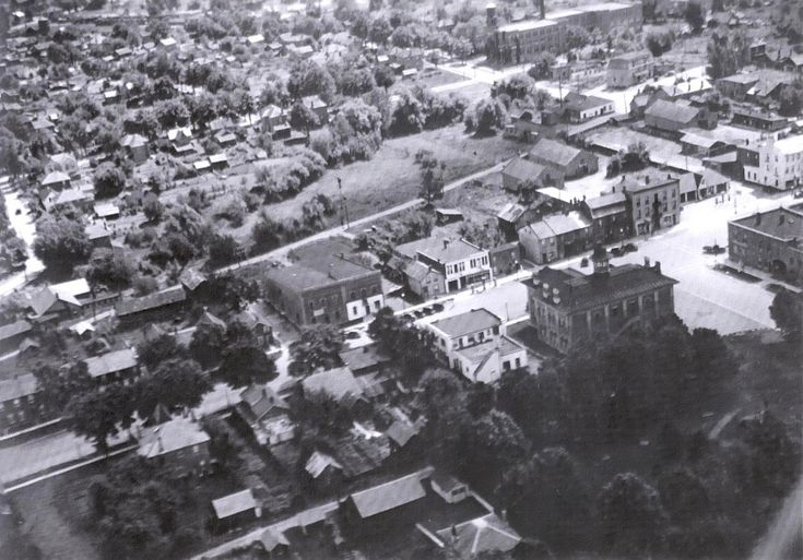 Some things really have changed while others stayed the same, as we can see in this aerial photo of downtown Orangeville. The photo is looking South across Broadway- Town Hall can be seen at the lower right corner.