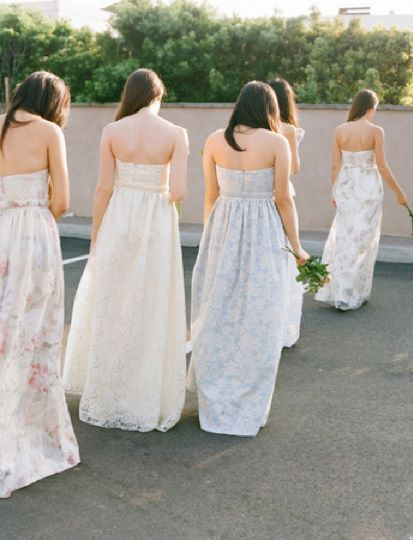 My bridesmaids in their custom pastel and floral bridesmaid dresses. #bridesmaids #floral #floraldress #pastel #romantic #dresses #bridesmaiddress