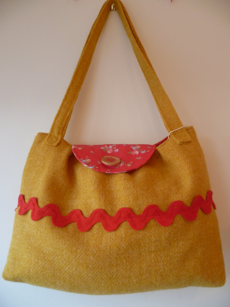Yellow Harris Tweed bag