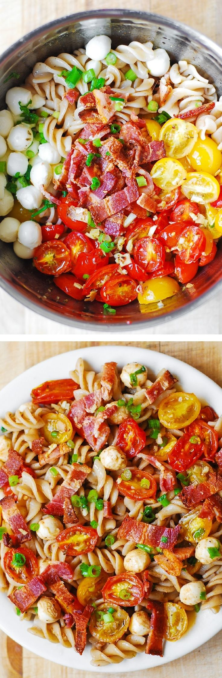 Pasta Salad with Bacon, Garlic Roasted Tomatoes and Mozzarella – delicious, healthy recipe!