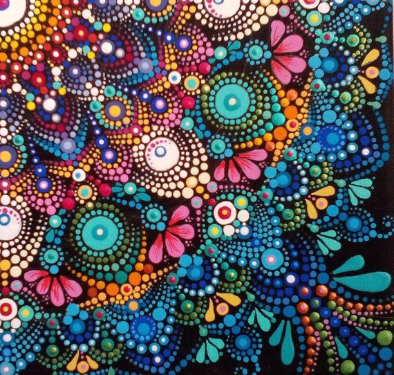 Dot Kunstwerk Mandala Kunst Malerei, Acryl Leinwand Malerei, Dottilism Pointilism Punktierung, Mandala Wall Decor Originalgemälde
