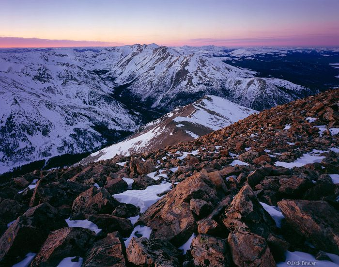 Massive from Elbert  Sawatch Range near Leadville, Colorado  Mount Massive as seen from the summit of Mount Elbert at sunset, February. Photo © copyright by Jack Brauer.
