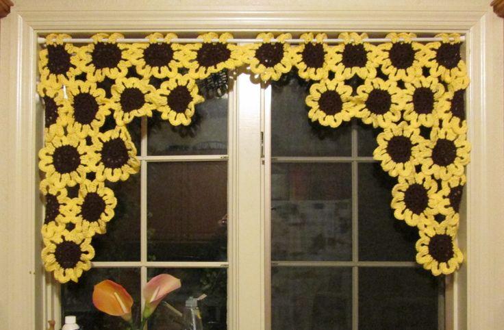 Crochet Sunflower Valance My Crocheted Creations For Sale Pinterest Crochet Crochet