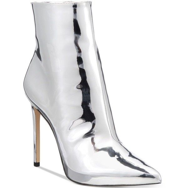 Aldo Women's Loreni Metallic Stiletto Dress Booties ($120) ❤ liked on Polyvore featuring shoes, boots, ankle booties, silver, zipper boots, metallic booties, zipper booties, pointy toe booties and silver boots