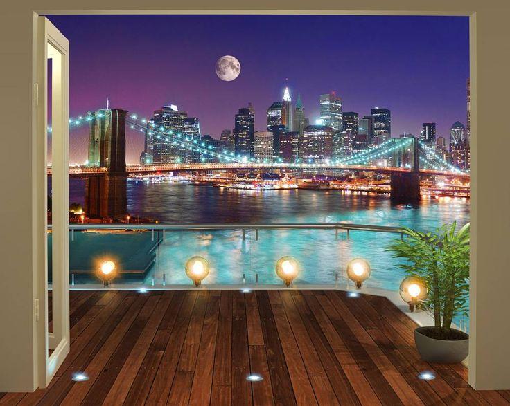 New York Brookline Bridge Posterbehang, fotobehang. Uitzicht op New York met als middelpunt de Brookline Brige. En dit alles vanuit je eigen kamer.