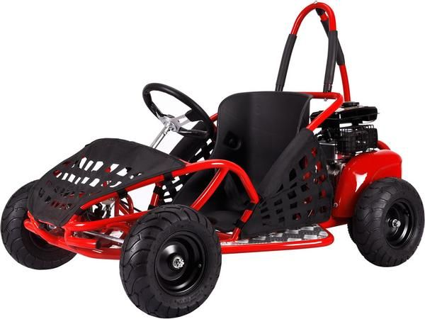 Featuring a powerful 4 stroke 79cc engine, roll cage safety bars, positraction, metal throttle/brake pedals, adjustable seat and seat belt.