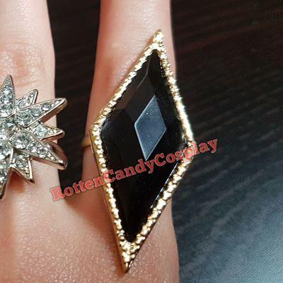 Black rhombus ring gold nightclub harley cosplay