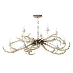 David Hunt STA2315 Stag 10 light pendant in bleached finish.