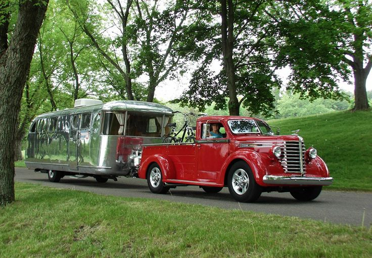 Old Diamond-T pickup and vintage trailer...I wish I had this set up I'd be On the road today.........