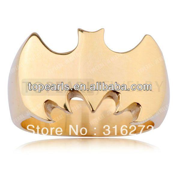 Topearl Ювелирные Изделия 3 шт. Байкер Кольцо Бэтмен Кольцо Из Нержавеющей Стали Золото MER231