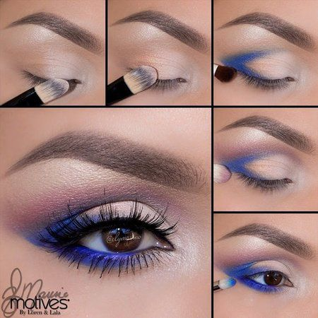 Sultry Eye Makeup with Blue Eyeshadows. #tutorial #pictorial #eyes #howto - bellashoot.com