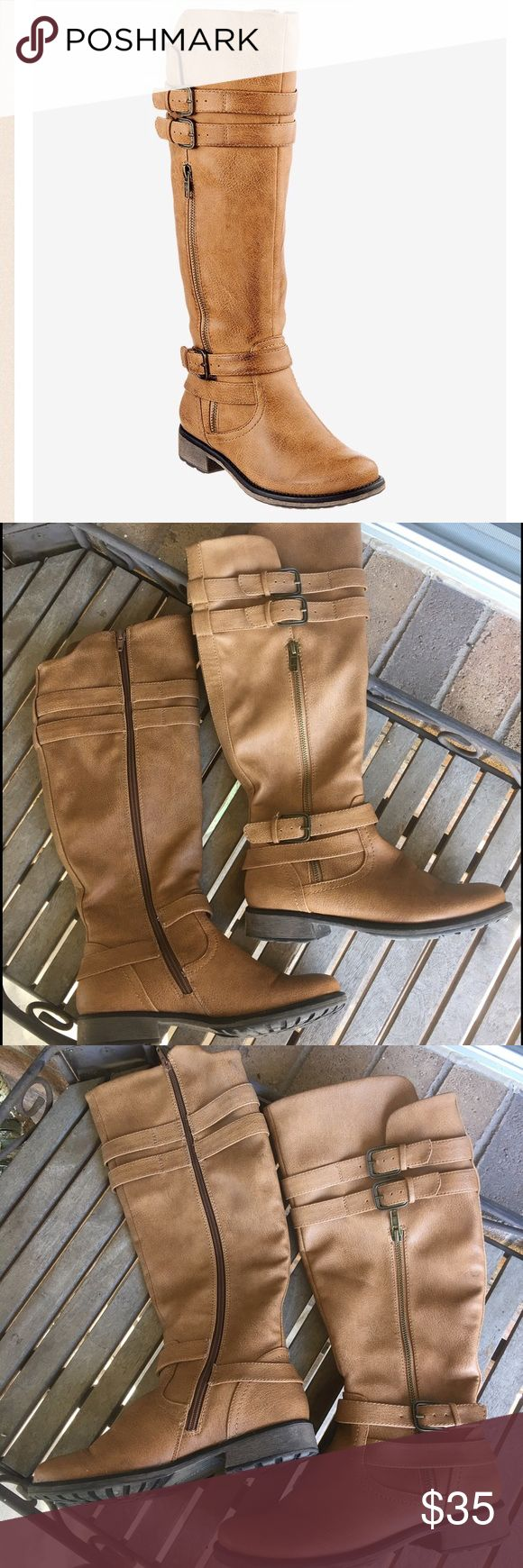 "Bare Traps Sheela Light Tan Riding Boots Gorgeous boots in great condition! Very versatile and stylish. All man made materials with rubber soles. Inside zipper. 3/4"" heel. Buckle straps. Calf width 15"". Great neutral color. Bare Traps Shoes Winter & Rain Boots"