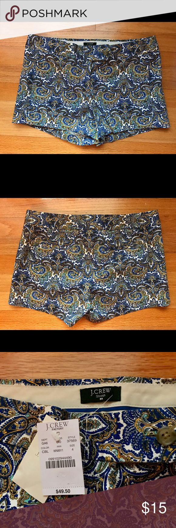 J. Crew Chino Shorts J. Crew Chino Shorts in paisley print. Sits just above hip. Zipper and metal slide closure. J. Crew Shorts