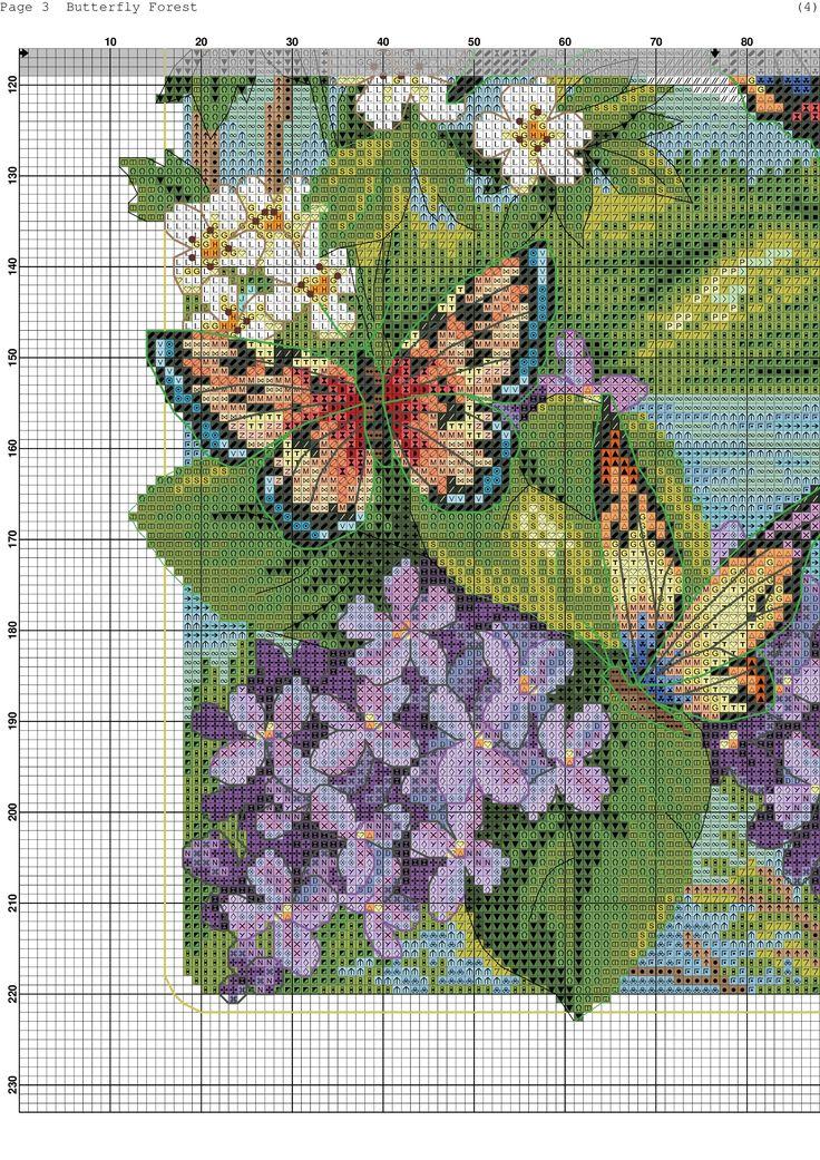 Cross stitch butterfly and chart. Łąka, Drzewa, Fioletowe Kwiaty i 4 Motyle cz.3