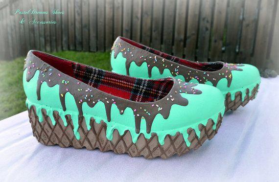 drippy icecream cupcake custom made flatform- platform shoes size uk6/us 9 or made to order, Pastel Goth, Fairy Kei, Kawaii,cute