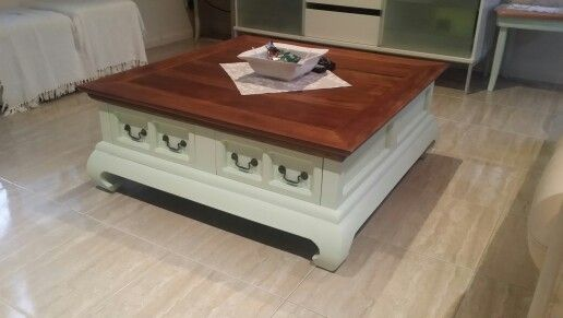 Large opium style teak table.  Refiniched in chalk mint green, and super smooth varnished top.