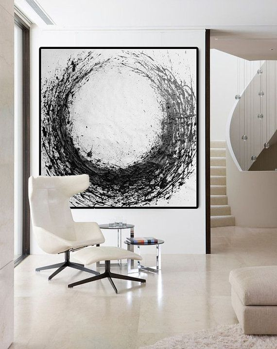 | WALLS | Large Abstract Painting Circle, Acrylic Painting On Canvas Art Original HAND MADE Black And White Minimalst Art. | $349.83+ CAD