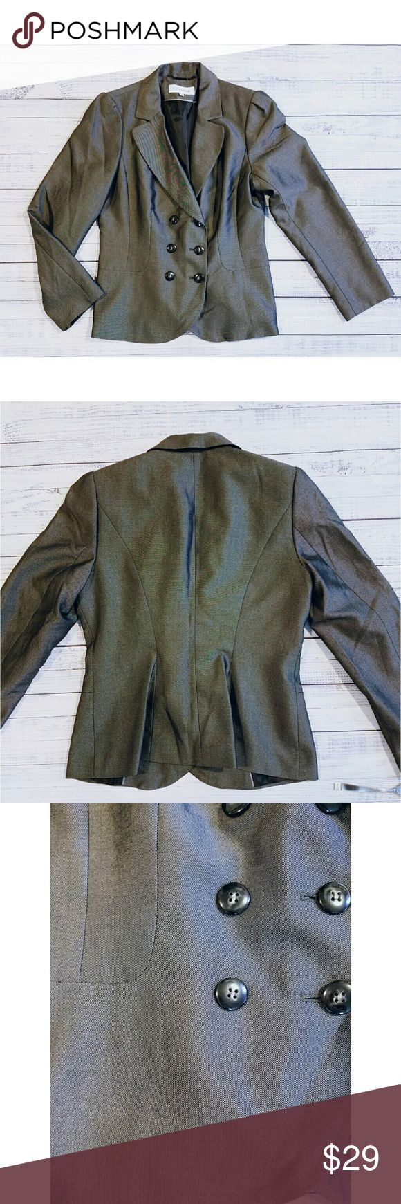 Calvin Klein jacket Gray jacket with a hint of sheen Linned Polyester, rayon 20 inches from armpit to armpit  24 inches long Calvin Klein Jackets & Coats Blazers