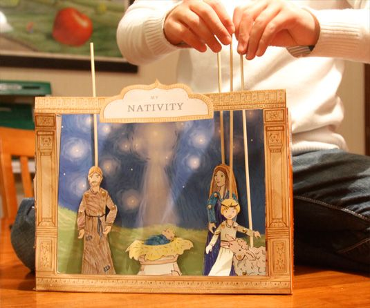 Printable puppet nativity set - Using this to talk about the Christmas story with my kids is a great interactive fun idea!