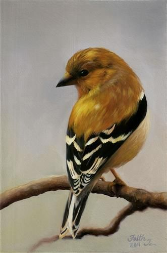 "Daily Paintworks - ""Goldfinch"" - Original Fine Art for Sale - © Faith Te"