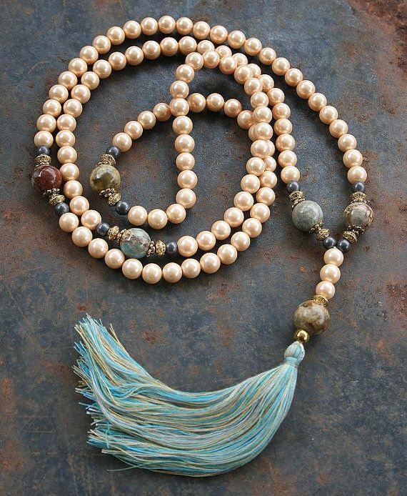 Mala made ​​of 108 beautiful Pearls with a diameter of 8 mm - 0.315 inch and decorated with Jasper, Jade, Hematite and with gold color beads and caps - Made by look4treasures
