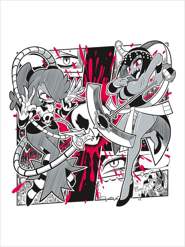 Songtress Confrontation Opera vs Lounge! Whats your preference? Squigly and Eliza definitely show their preferences in this sass-off! This fun Skullgirls shirt design features them squaring off in a c