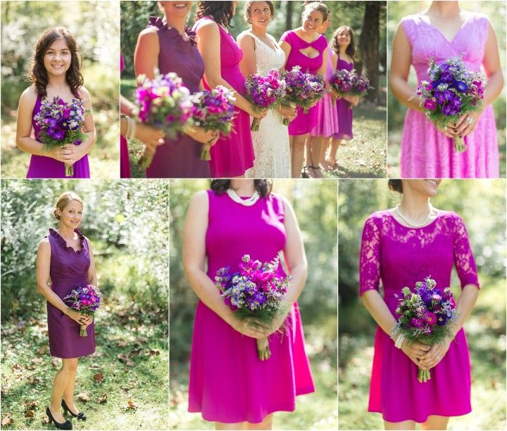 Pink and purple bridesmaids bouquets ad dresses. Love that they are all different but match! Click to view more from this Maryville TN wedding!